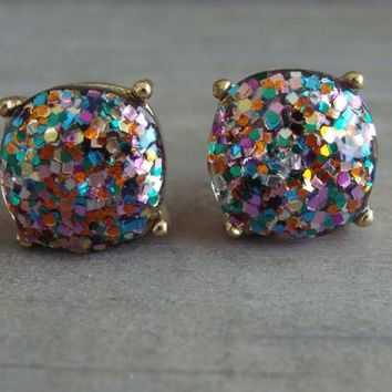 Multicolor Glitter Earrings Post Stud Pink Blue Gold Silver Purple Resin K Druzy Jelly Candy Bubble Sparkly Colorful