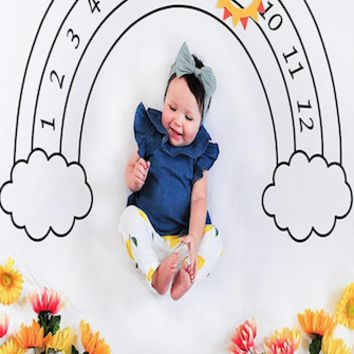 Baby Monthly Milestone First Year Baby Milestone Backdrop Blanket  Photo Prop - CC410