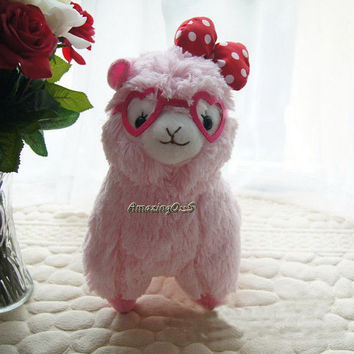 """Cute Arpakasso Alpacasso Alpaca Plush Toy Doll Stuffed with Rose Red Glass Japan Amuse Pink 7"""" TY004-PP"""