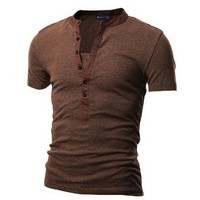 Doublju Mens Henley T-shirts with Short Sleeve BROWN (US-S)