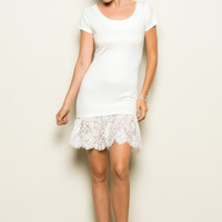 LACE RUFFLE BOTTOM DRESS
