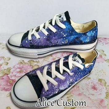 converse galaxy low waist shoes hand paint converse sneakers custom converse special