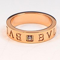 BVLGARI Fashion Women Personality Word Single Diamond Stainless Steel Ring Jewelry Rose Golden I-HLYS-SP