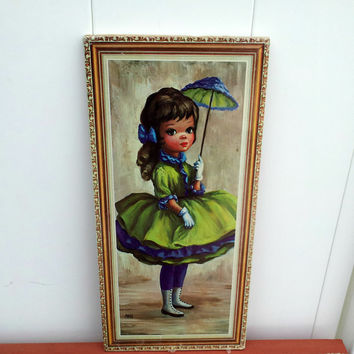 Vintage Maio Big Eye Little Girl Litho Wall Hanging - Green and Blue Party Dress with Parasol and Crinoline - Ready to Hang