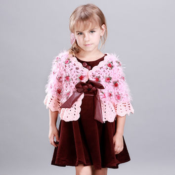 2016 Girls Bolero Shrug Sweater Fashion Cotton Poncho Sweater Sweet Kids Fall Winter Cardigan Shrug Jacket Shawl Cape Waistcoat