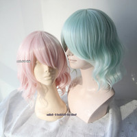 35cm loose wave pastel pink. mint green lolita . harajuku wig with bangs