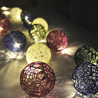 Party lighting, Bedroom Decor lamps, Fairy Lights, String Lights, Christmas lights, 20 Lace Crocheted  colrful balls , garland light