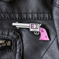 Pink Pistol Enamel Pin - Feminist Fashion Accessory