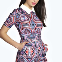 Grace Geo Print Contrast Collar Playsuit