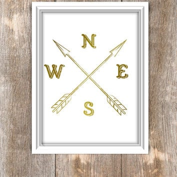 Compass, Compass Printable Art, NWES, poster compass printable black, gold, cardinal directions, 8x10 Compass, Instant Download - Jpeg