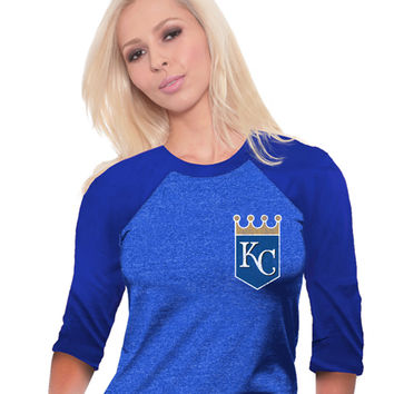 Kansas City Royals T-Shirt - Royal Royals Raglan Long Sleeve Crew