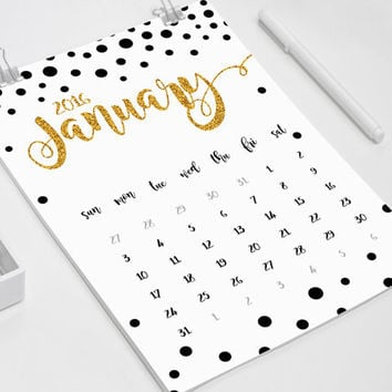 Printable 2016 Wall calendar, Printable Wall planner, A4 Calendar, Black watercolor, Minimal Typographic calendar, Instant download