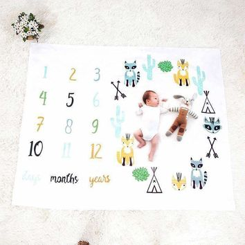 Baby Blanket Photo Newborns Swaddle Stroller Bedding Wrap Background Monthly Growth Number Photography Props Outfits