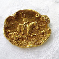 Vintage Equestrian Hunt Brooch Pin Polo Horse Horseback Riding