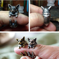 Vintage Style Boho Chic Welsh Corgi Ring Bijoux Brass Knuckle Animal Dog Rings For Women Men Fine Jewelry Party Gift R318