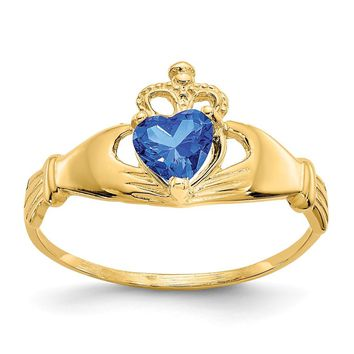 14K Yellow Gold CZ September Birthstone Claddagh Heart Ring