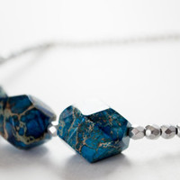 Faceted Blue Jasper Silver Necklace