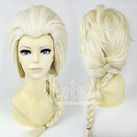 Frozen Wig New Disney Snow Queen Elsa Wig High Quality Cosplay Wig Weaving Braid Wig Heat Resistant Free Shipping