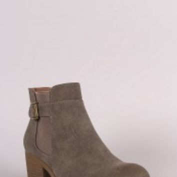 Qupid Buckled Elastic Gore Western Booties