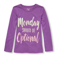 Girls Long Sleeve Glitter 'Monday Should Be Optional' Graphic Tee   The Children's Place