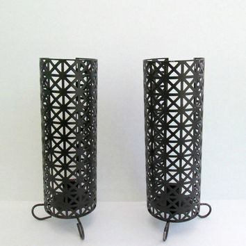 Mid Century Modern Black Metal Candle Holders Set of Two Lattice Taper Candlestick Table Sconce