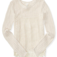 Aeropostale  Sheer Crochet-Back Sweater