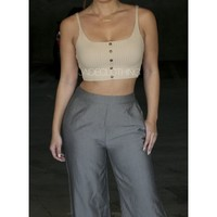 Liliana Ribbed Button Crop Top - Jaide Clothing