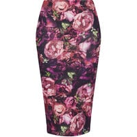 TOPSHOP Purple Flower Tube Skirt