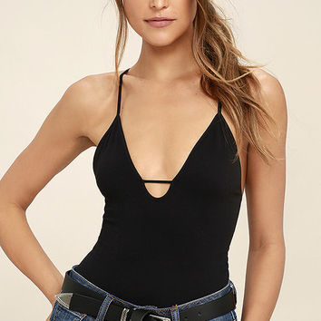 Free People Move Along Black Bodysuit