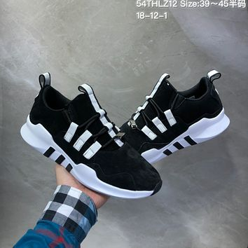 HCXX A498 Adidas Equipment Support ADV EQT Suede Casual Running Shoes Black White