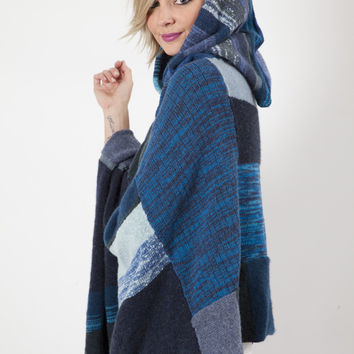 souchi cashmere hooded poncho