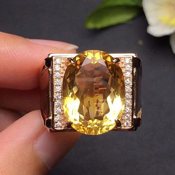 Fine Jewelry Real s925 sterling silvery 100% natural citrine gemstone male rings wedding bands rings for men