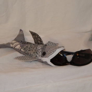 Gray Shark - Pencil Case - Sun Glasses Case - Shark Week - Menstrual Supplies Pouch - Ipod case - Cute Pencil Case - Stocking Stuffer