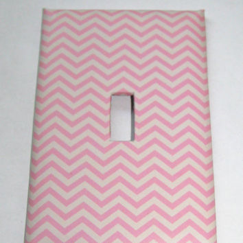 Light Switch Cover - Light Switch Plate Pink Chevron