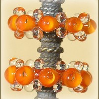 Glass Handmade Lampwork Orange Bubble Beads, Lampwork Glass Disc Beads Set(6 )