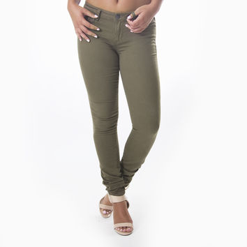 Classic Skinny Pants In Olive