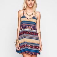 Full Tilt Boho Print T-Back Slip Dress Multi  In Sizes