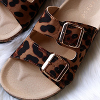 Bamboo Suede Leopard Open Toe Buckled Cork Slide Sandal