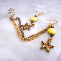 Ear cuff/Ear wrap Earring Set with star charm Gold and Antique Bronze Chain