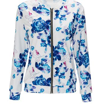 Streetstyle  Casual Floral Printed Band Collar Bomber Jacket