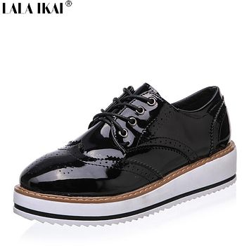 2017 Spring Women Brogues Creepers Platform Shoes Women Oxfords Patent Leather Women Shoes Oxford Shoes for Women XWK0052-5