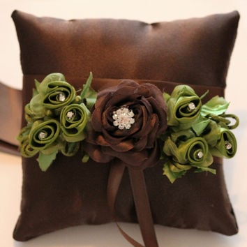 Brown Green Ring Bearer Pillow for dogs, ring bearer green floral wedding collar