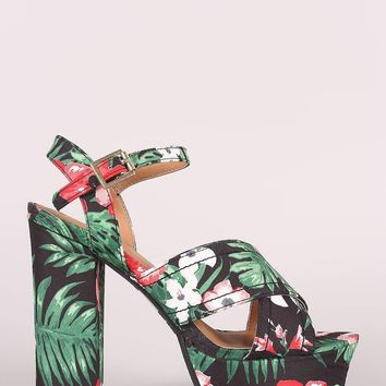 Qupid Floral Print Crisscross Ankle Strap Chunky Platform Heel