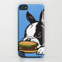Cheeseburger Boston Terrier iPhone & iPod Case by turddemon