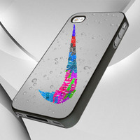 ICC 0784 Nike Sport Logo Glitter -  iPhone 4, iPhone 4s, and iPhone 5 Case - Black / White Cases