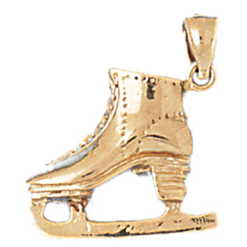 14K GOLD SPORT CHARM - ICE SKATING BOOT #3526