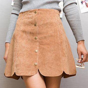 2016 Spring summer micro leather skirt women A-Line jupe sexy pigskin leather pencil skirt package hip botton slim 3 colors faux