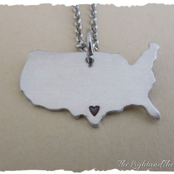 UNITED STATES - Hand Stamped Jewelry - Custom heart location - Gift Idea - Country - Location - Map - World