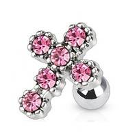 16g Pink Gem Cross Cartilage Earring Stud Body Jewelry Piercing with Surgical Steel Barbell 16 Gauge