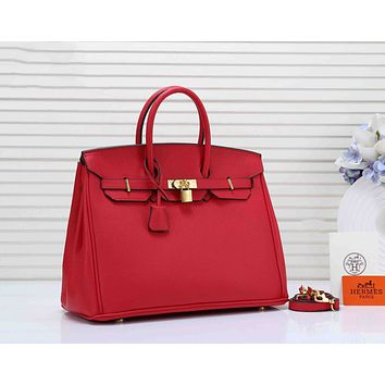 Hermes Classic Fashion Women Shopping Leather Handbag Tote Shoulder Bag Crossbody Satchel Red